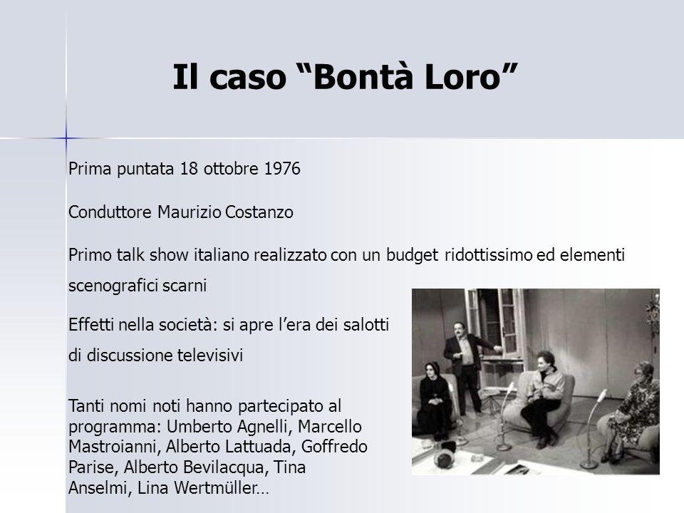 """Il caso """"Bontà Loro"""" Prima puntata 18 ottobre 1976 Conduttore Maurizio Costanzo Primo talk show italiano realizzato con un budget ridottissimo ed elem"""