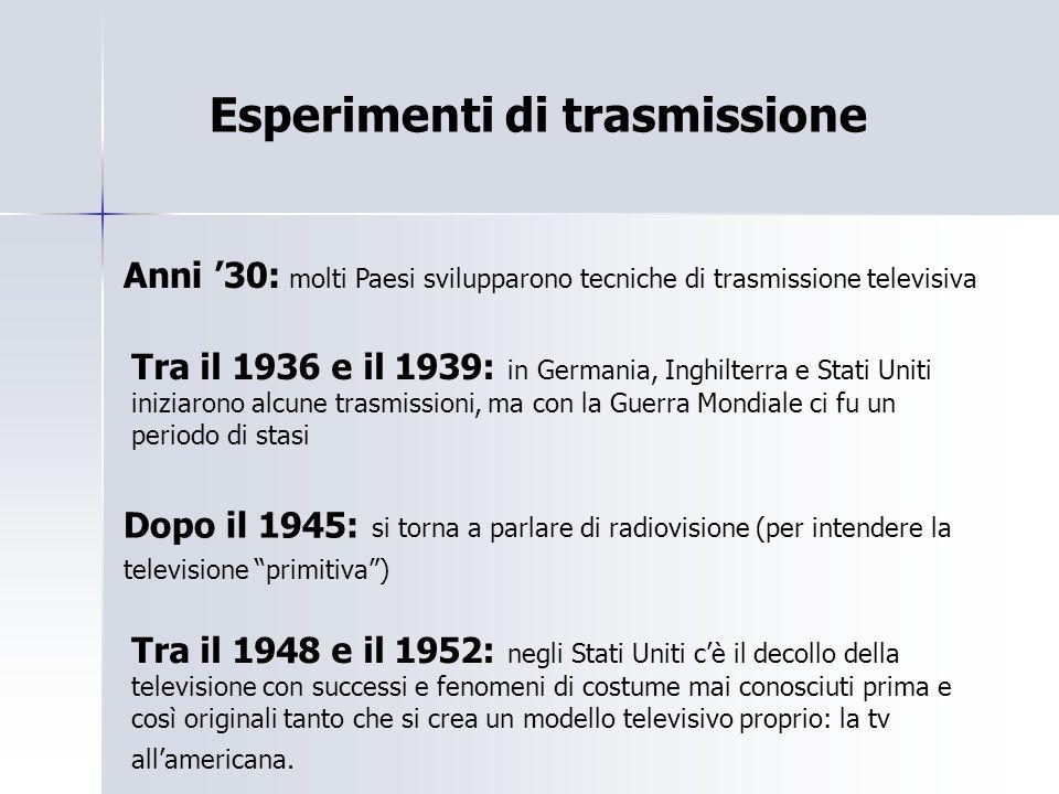 Esperimenti di trasmissione Anni '30: molti Paesi svilupparono tecniche di trasmissione televisiva Dopo il 1945: si torna a parlare di radiovisione (p