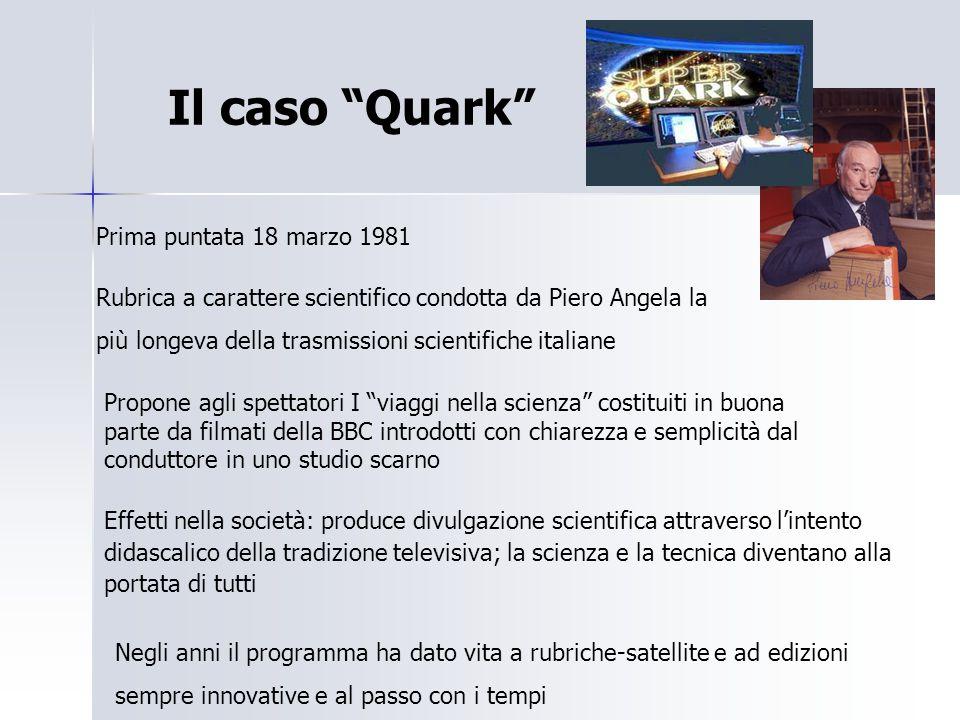 """Il caso """"Quark"""" Prima puntata 18 marzo 1981 Rubrica a carattere scientifico condotta da Piero Angela la più longeva della trasmissioni scientifiche it"""