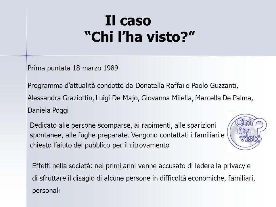 """Il caso """"Chi l'ha visto?"""" Prima puntata 18 marzo 1989 Programma d'attualità condotto da Donatella Raffai e Paolo Guzzanti, Alessandra Graziottin, Luig"""