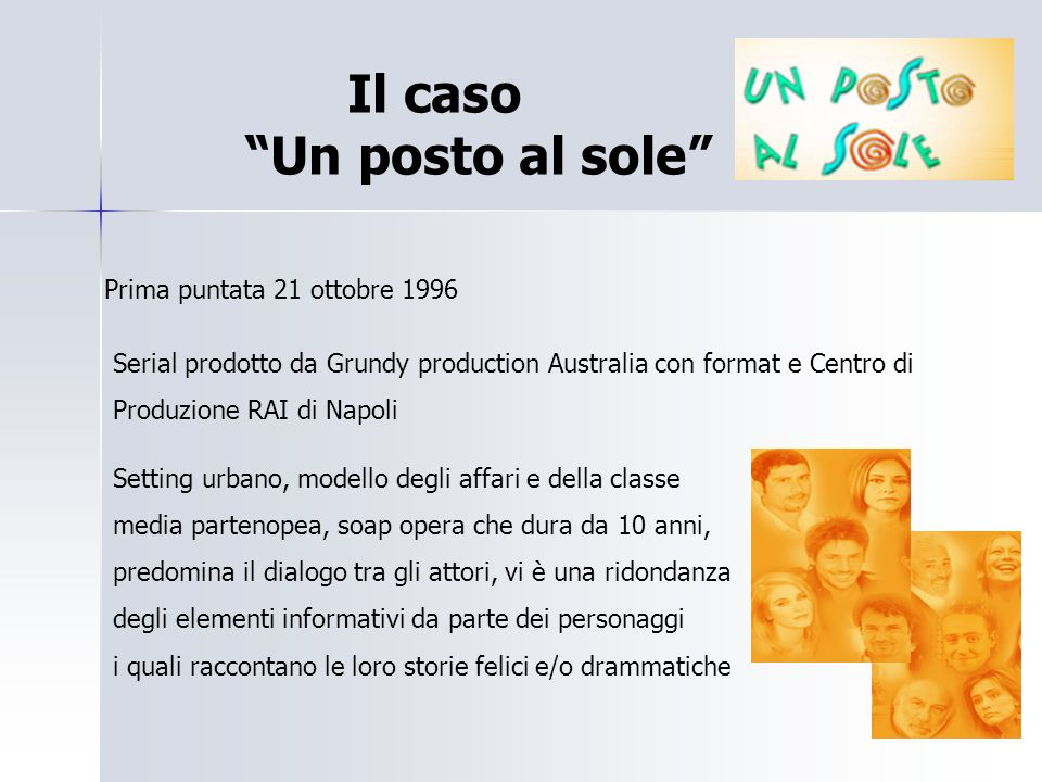 """Il caso """"Un posto al sole"""" Prima puntata 21 ottobre 1996 Serial prodotto da Grundy production Australia con format e Centro di Produzione RAI di Napol"""