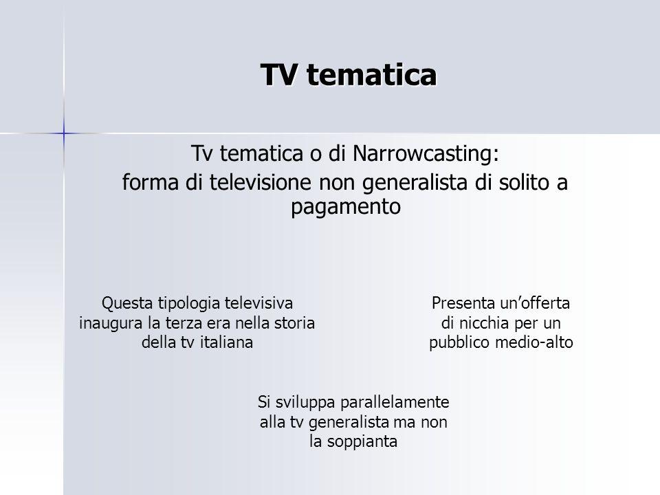TV tematica Tv tematica o di Narrowcasting: forma di televisione non generalista di solito a pagamento Questa tipologia televisiva inaugura la terza e