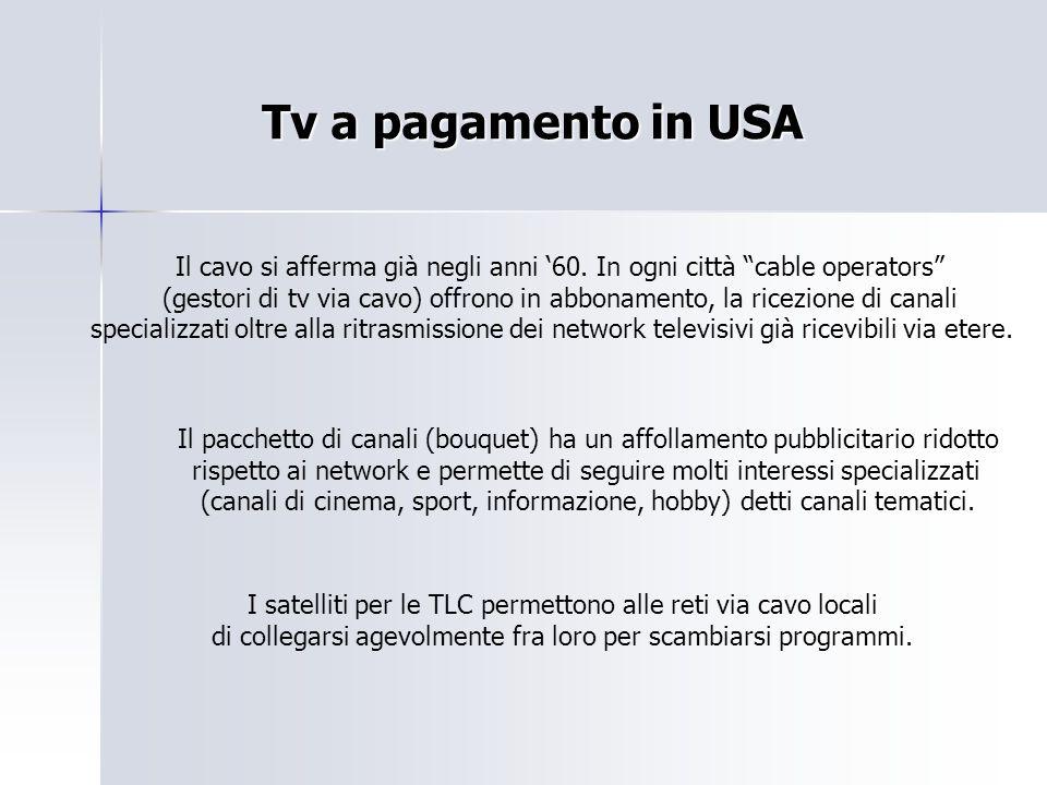 """Tv a pagamento in USA Il cavo si afferma già negli anni '60. In ogni città """"cable operators"""" (gestori di tv via cavo) offrono in abbonamento, la ricez"""
