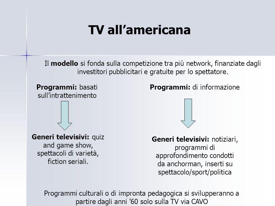NEO-TELEVISIONE 1976-1990 La programmazione si fonda prevalentemente sull'intrattenimento.