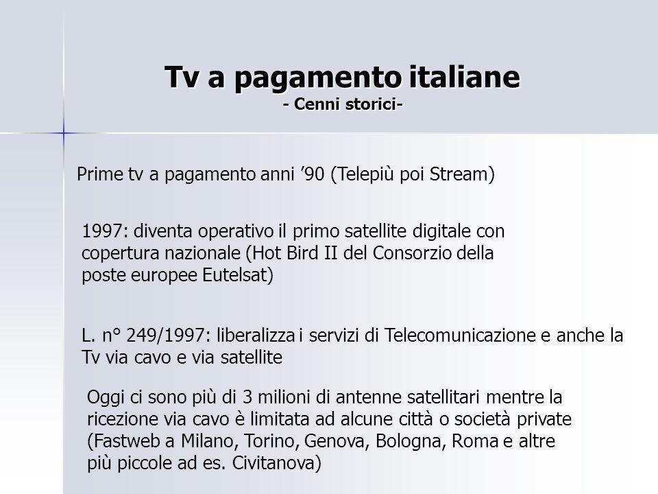 Tv a pagamento italiane - Cenni storici- Prime tv a pagamento anni '90 (Telepiù poi Stream) 1997: diventa operativo il primo satellite digitale con co
