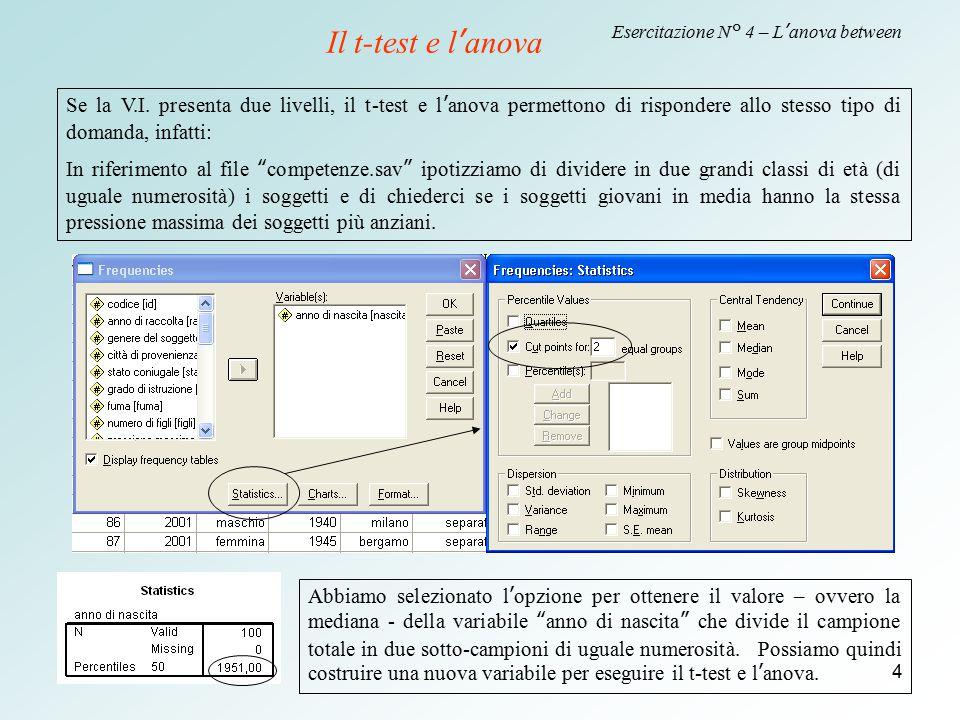 4 Esercitazione N° 4 – L'anova between Il t-test e l'anova Se la V.I. presenta due livelli, il t-test e l'anova permettono di rispondere allo stesso t
