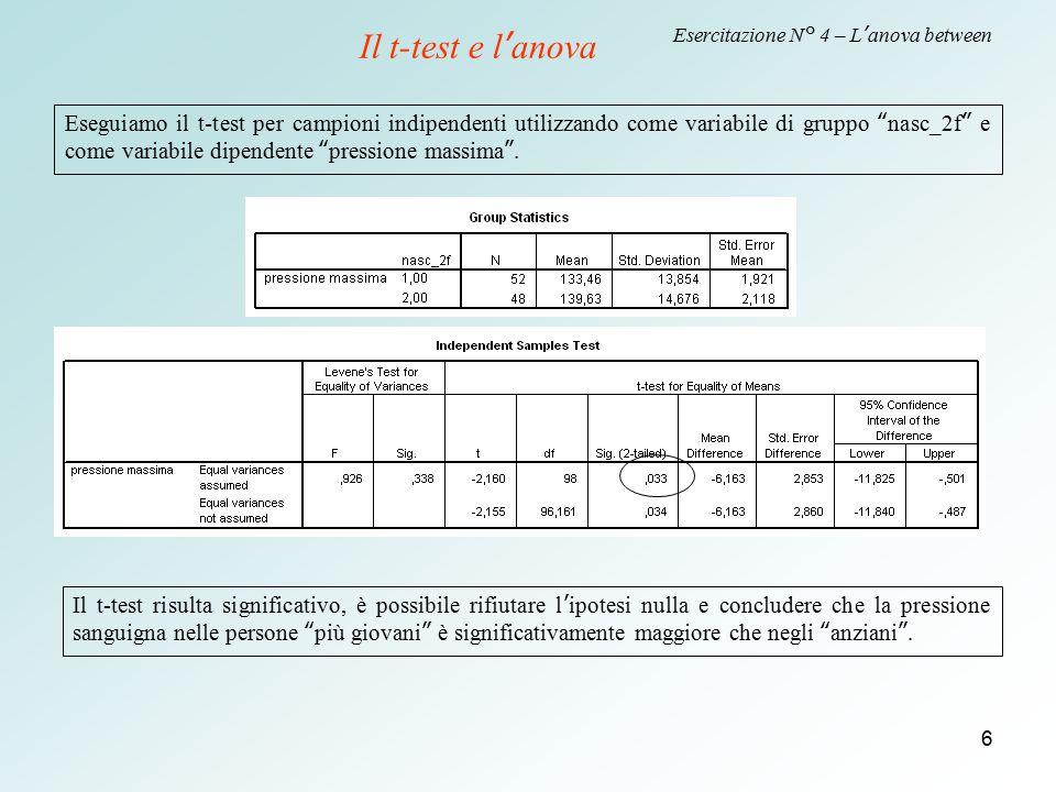 """6 Esercitazione N° 4 – L'anova between Eseguiamo il t-test per campioni indipendenti utilizzando come variabile di gruppo """"nasc_2f"""" e come variabile d"""