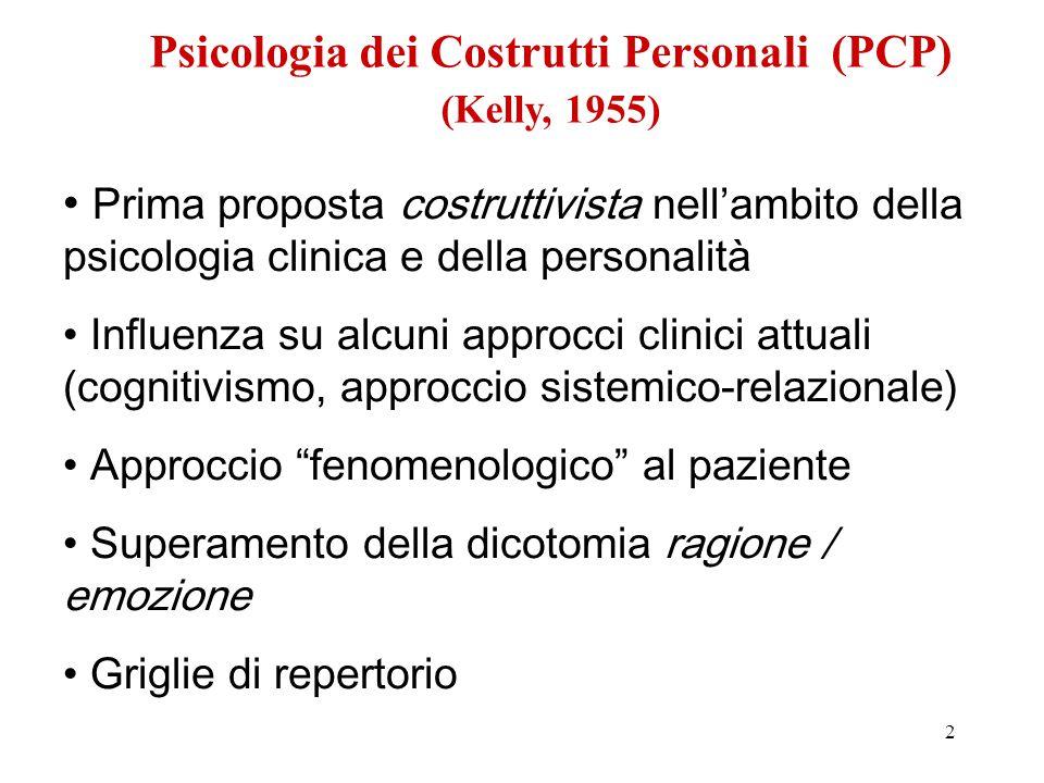 2 Prima proposta costruttivista nell'ambito della psicologia clinica e della personalità Influenza su alcuni approcci clinici attuali (cognitivismo, a