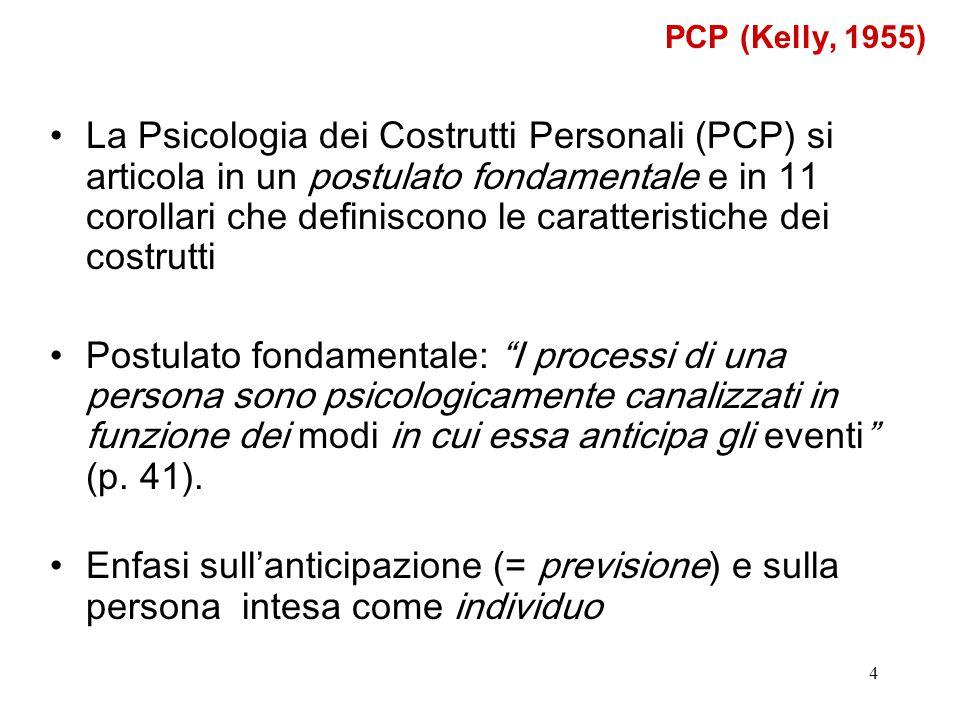 4 La Psicologia dei Costrutti Personali (PCP) si articola in un postulato fondamentale e in 11 corollari che definiscono le caratteristiche dei costru