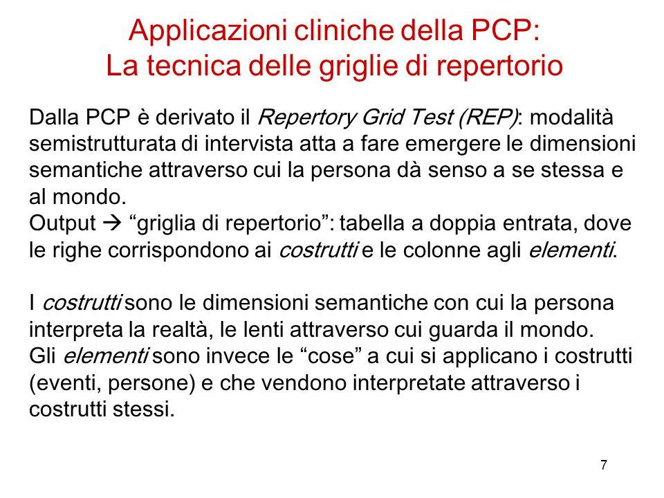 7 Dalla PCP è derivato il Repertory Grid Test (REP): modalità semistrutturata di intervista atta a fare emergere le dimensioni semantiche attraverso c