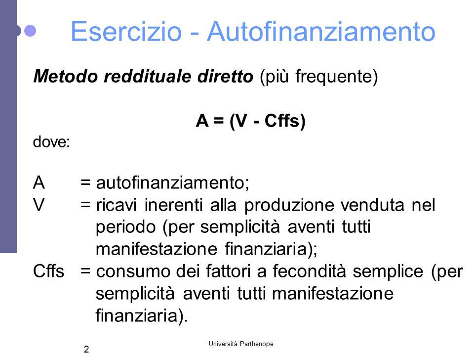 Università Parthenope 2 Esercizio - Autofinanziamento Metodo reddituale diretto (più frequente) A = (V - Cffs) dove: A= autofinanziamento; V= ricavi i