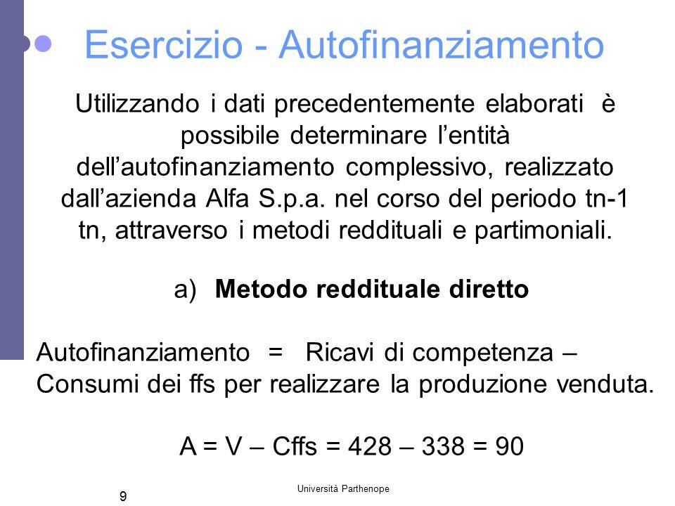 Università Parthenope 9 Esercizio - Autofinanziamento Utilizzando i dati precedentemente elaborati è possibile determinare l'entità dell'autofinanziamento complessivo, realizzato dall'azienda Alfa S.p.a.