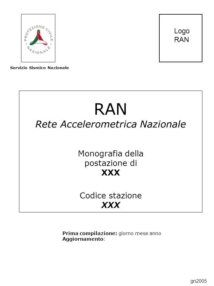 RAN Rete Accelerometrica Nazionale Monografia della postazione di XXX Codice stazione XXX Prima compilazione: giorno mese anno Aggiornamento: Servizio Sismico Nazionale Logo RAN gn2005