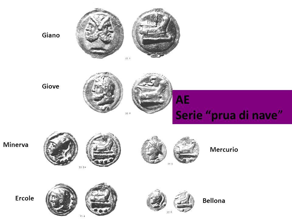 """AE Serie """"prua di nave"""" Giano Giove Minerva Ercole Mercurio Bellona"""