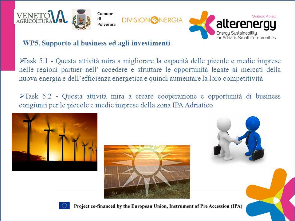 WP5. Supporto al business ed agli investimenti  Task 5.1 - Questa attività mira a migliorare la capacità delle piccole e medie imprese nelle regioni