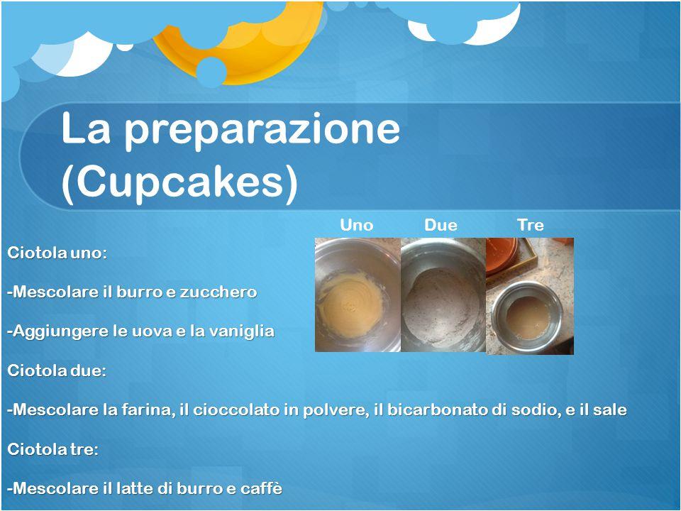 La preparazione (Cupcakes) Ciotola uno: -Mescolare il burro e zucchero -Aggiungere le uova e la vaniglia Ciotola due: -Mescolare la farina, il cioccolato in polvere, il bicarbonato di sodio, e il sale Ciotola tre: -Mescolare il latte di burro e caffè Uno Due Tre