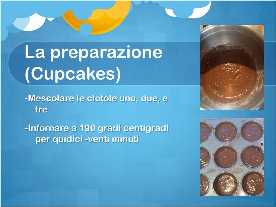La preparazione (Cupcakes) -Mescolare le ciotole uno, due, e tre -Infornare a 190 gradi centigradi per quidici -venti minuti