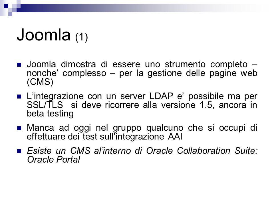 Joomla (1) Joomla dimostra di essere uno strumento completo – nonche' complesso – per la gestione delle pagine web (CMS) L'integrazione con un server LDAP e' possibile ma per SSL/TLS si deve ricorrere alla versione 1.5, ancora in beta testing Manca ad oggi nel gruppo qualcuno che si occupi di effettuare dei test sull'integrazione AAI Esiste un CMS al'interno di Oracle Collaboration Suite: Oracle Portal
