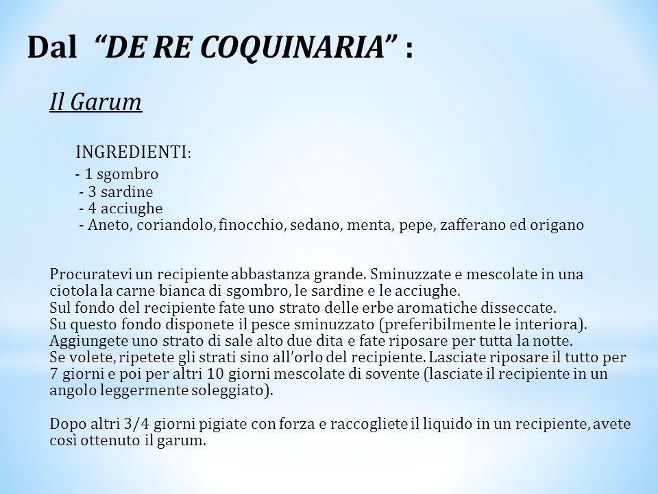 """Dal """"DE RE COQUINARIA"""" : Il Garum INGREDIENTI : - 1 sgombro - 3 sardine - 4 acciughe - Aneto, coriandolo, finocchio, sedano, menta, pepe, zafferano ed"""