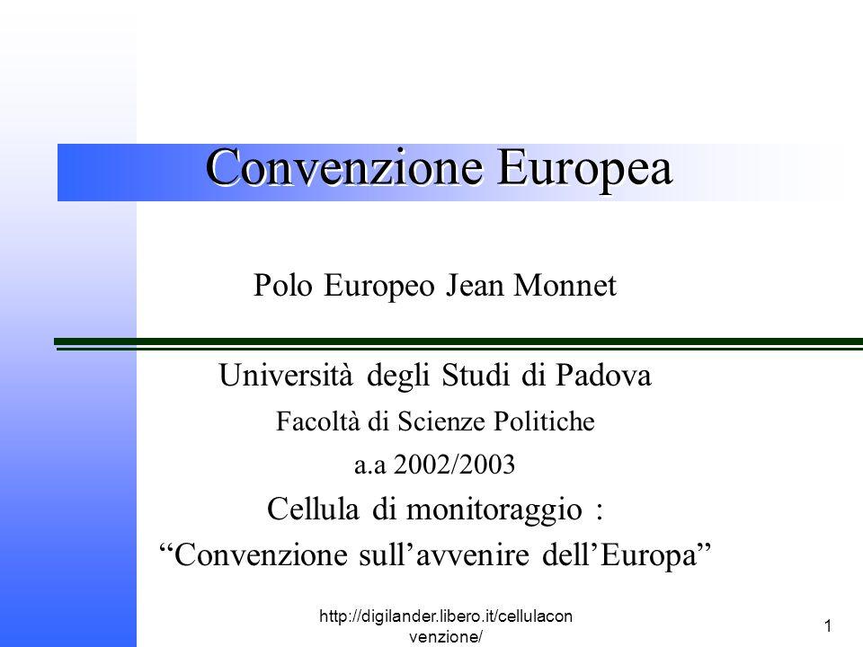 http://digilander.libero.it/cellulacon venzione/ 1 Convenzione Europea Polo Europeo Jean Monnet Università degli Studi di Padova Facoltà di Scienze Politiche a.a 2002/2003 Cellula di monitoraggio : Convenzione sull'avvenire dell'Europa