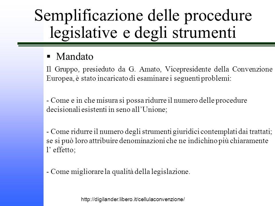 http://digilander.libero.it/cellulaconvenzione/ Semplificazione delle procedure legislative e degli strumenti  Mandato Il Gruppo, presieduto da G.