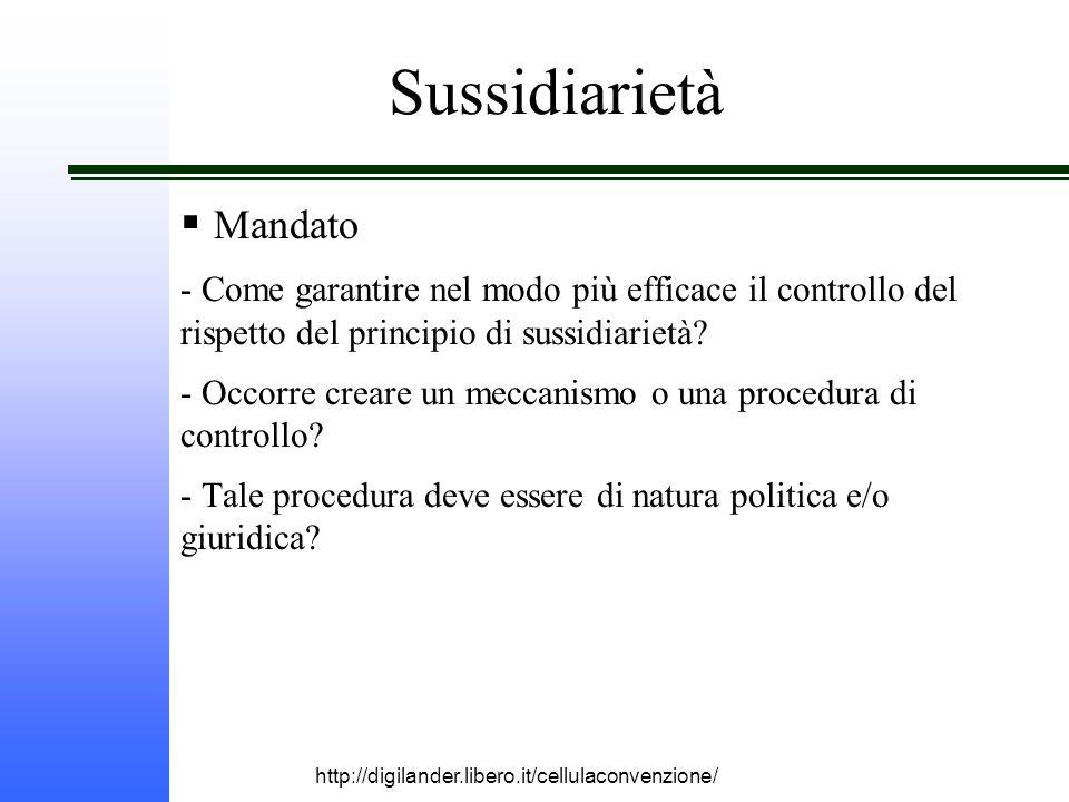 http://digilander.libero.it/cellulaconvenzione/  Mandato - Come garantire nel modo più efficace il controllo del rispetto del principio di sussidiarietà.