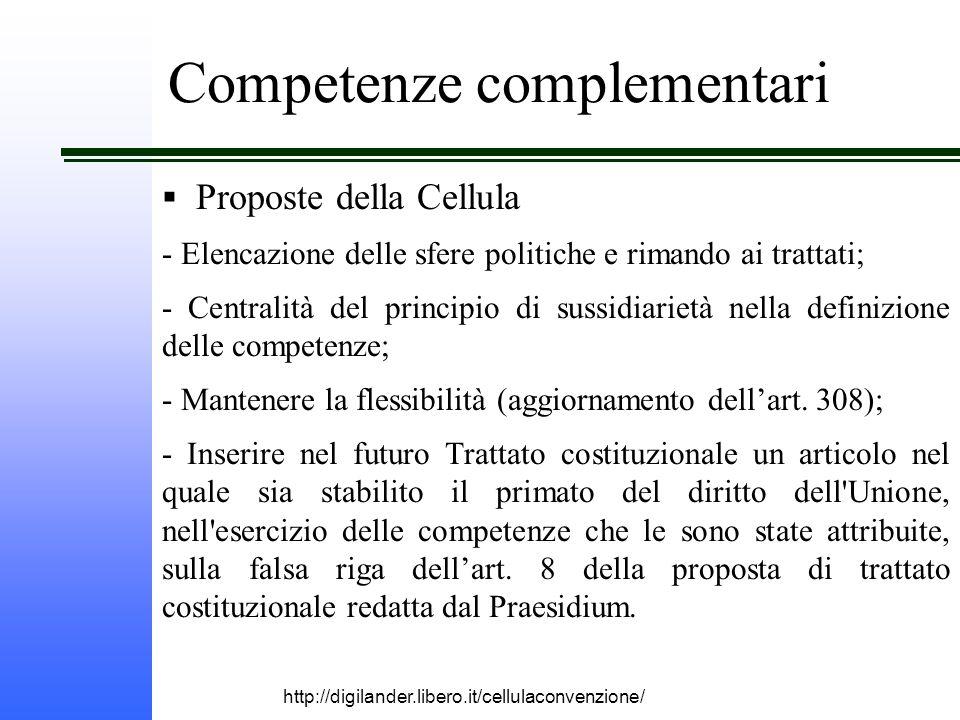 http://digilander.libero.it/cellulaconvenzione/ Competenze complementari  Proposte della Cellula - Elencazione delle sfere politiche e rimando ai trattati; - Centralità del principio di sussidiarietà nella definizione delle competenze; - Mantenere la flessibilità (aggiornamento dell'art.