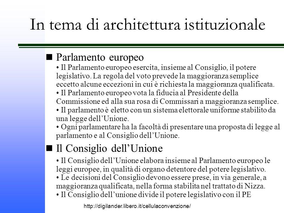 http://digilander.libero.it/cellulaconvenzione/ In tema di architettura istituzionale Parlamento europeo Il Parlamento europeo esercita, insieme al Consiglio, il potere legislativo.