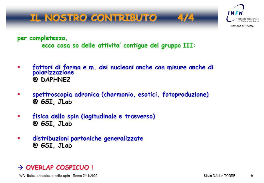10 Sezione di Trieste Silvia DALLA TORRE WG: fisica adronica e dello spin, Roma 7/11/2005 L'AGENDA di OGGI  11:00Commenti introduttivi, S.