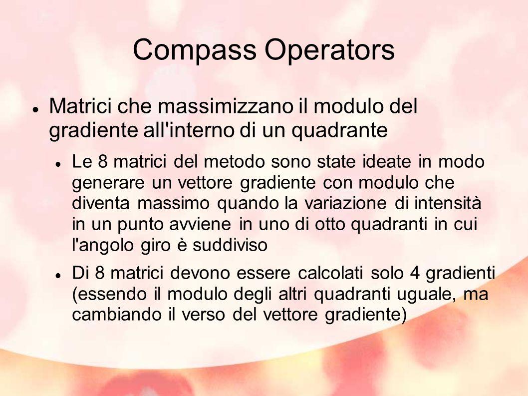 Compass Operators Matrici che massimizzano il modulo del gradiente all interno di un quadrante Le 8 matrici del metodo sono state ideate in modo generare un vettore gradiente con modulo che diventa massimo quando la variazione di intensità in un punto avviene in uno di otto quadranti in cui l angolo giro è suddiviso Di 8 matrici devono essere calcolati solo 4 gradienti (essendo il modulo degli altri quadranti uguale, ma cambiando il verso del vettore gradiente)