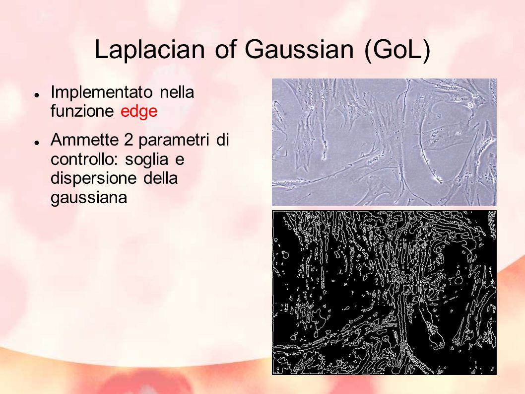 Laplacian of Gaussian (GoL) Implementato nella funzione edge Ammette 2 parametri di controllo: soglia e dispersione della gaussiana