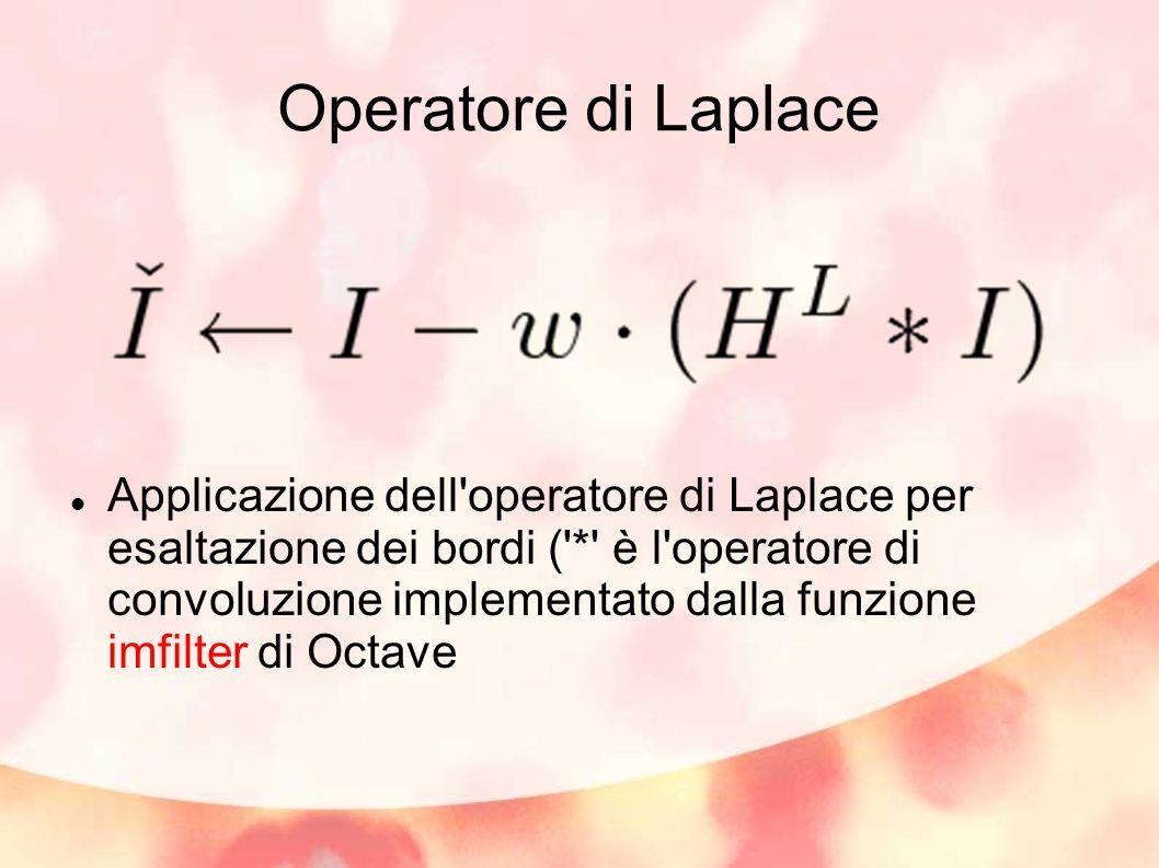 Operatore di Laplace Applicazione dell operatore di Laplace per esaltazione dei bordi ( * è l operatore di convoluzione implementato dalla funzione imfilter di Octave