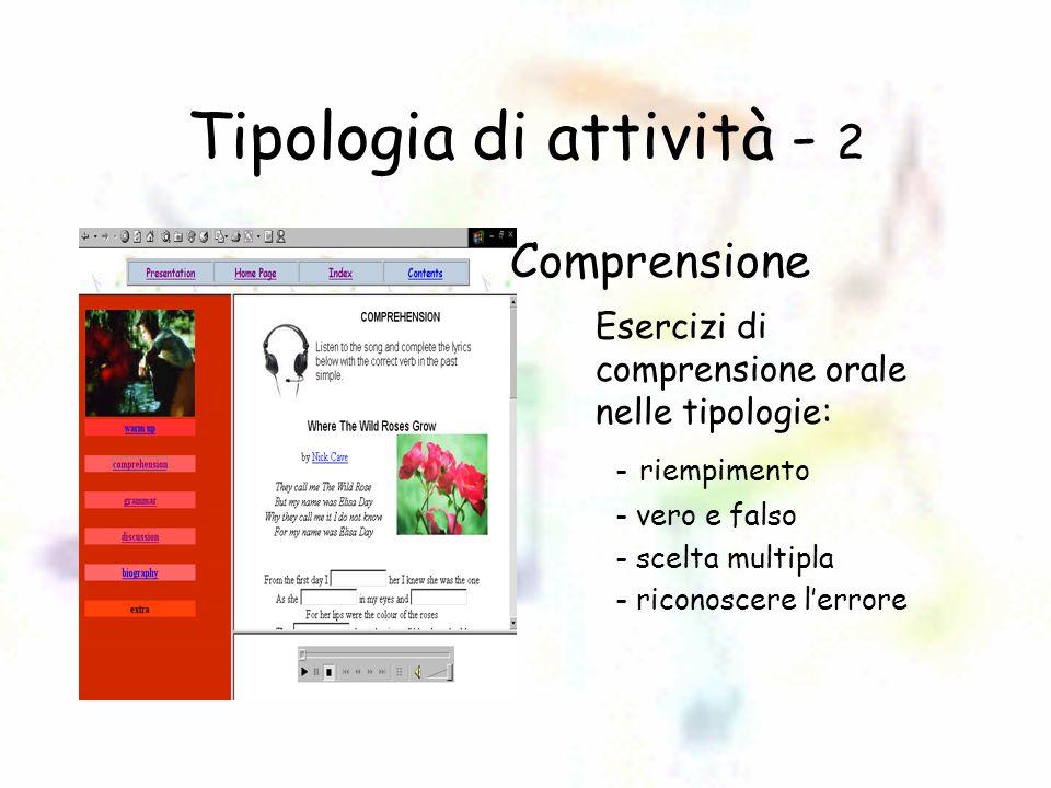 Tipologia di attività - 3 Grammatica Esercizi per il consolidamento grammaticale: –riempimento –scelta multipla –scrittura