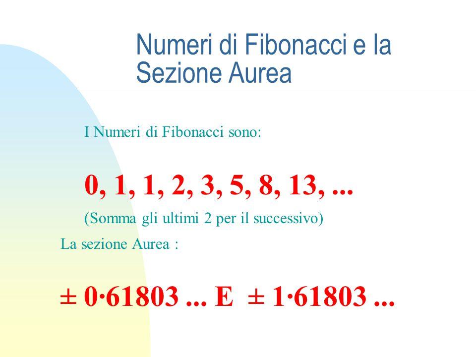 Numeri di Fibonacci e la Sezione Aurea I Numeri di Fibonacci sono: 0, 1, 1, 2, 3, 5, 8, 13,... (Somma gli ultimi 2 per il successivo) La sezione Aurea