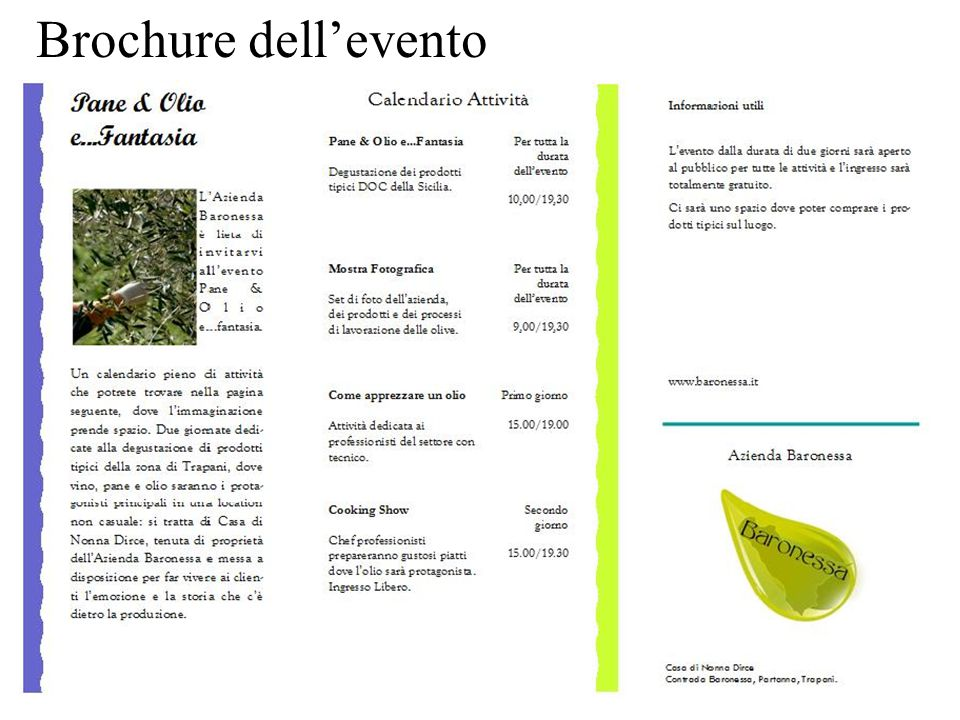 Brochure dell'evento
