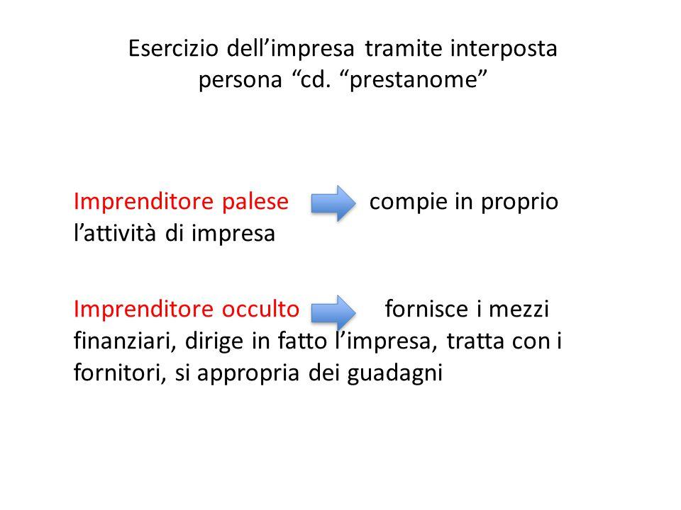 """Esercizio dell'impresa tramite interposta persona """"cd. """"prestanome"""" Imprenditore palese compie in proprio l'attività di impresa Imprenditore occulto f"""