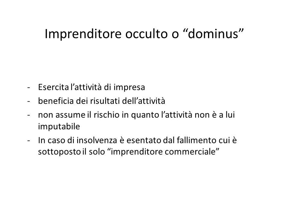 """Imprenditore occulto o """"dominus"""" -Esercita l'attività di impresa -beneficia dei risultati dell'attività -non assume il rischio in quanto l'attività no"""