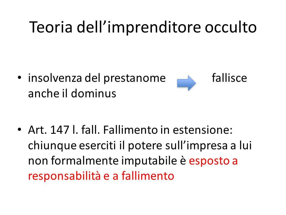 Teoria dell'imprenditore occulto insolvenza del prestanome fallisce anche il dominus Art. 147 l. fall. Fallimento in estensione: chiunque eserciti il