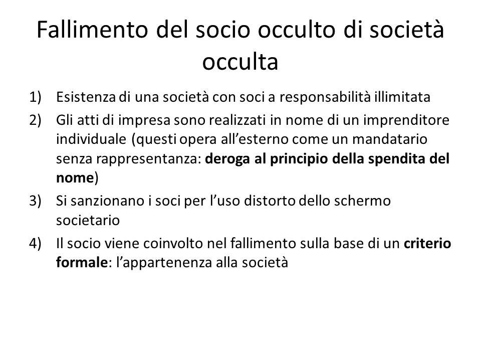 Fallimento del socio occulto di società occulta 1)Esistenza di una società con soci a responsabilità illimitata 2)Gli atti di impresa sono realizzati