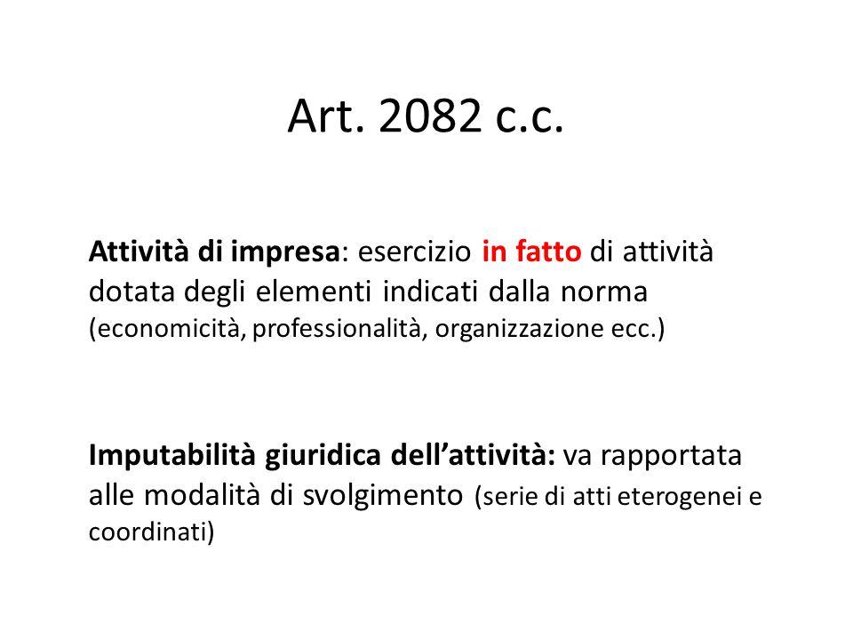 Art. 2082 c.c. Attività di impresa: esercizio in fatto di attività dotata degli elementi indicati dalla norma (economicità, professionalità, organizza