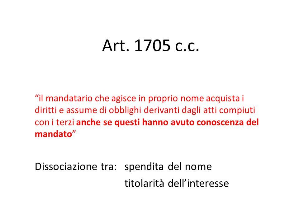 """Art. 1705 c.c. """"il mandatario che agisce in proprio nome acquista i diritti e assume di obblighi derivanti dagli atti compiuti con i terzi anche se qu"""