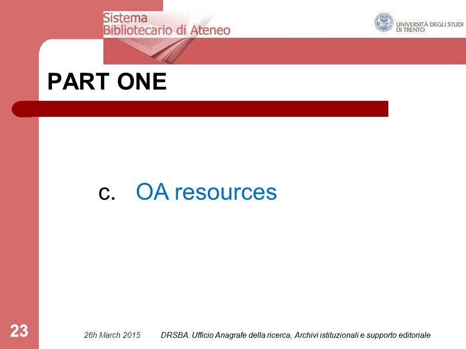 DRSBA. Ufficio Anagrafe della ricerca, Archivi istituzionali e supporto editoriale 23 PART ONE c.