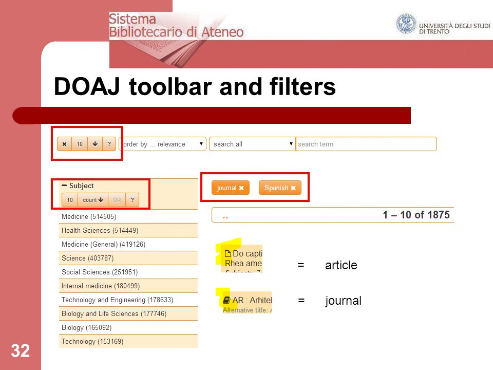 32 DOAJ toolbar and filters = article = journal