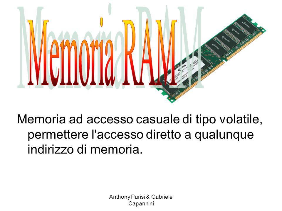 Memoria ad accesso casuale di tipo volatile, permettere l'accesso diretto a qualunque indirizzo di memoria. Anthony Parisi & Gabriele Capannini
