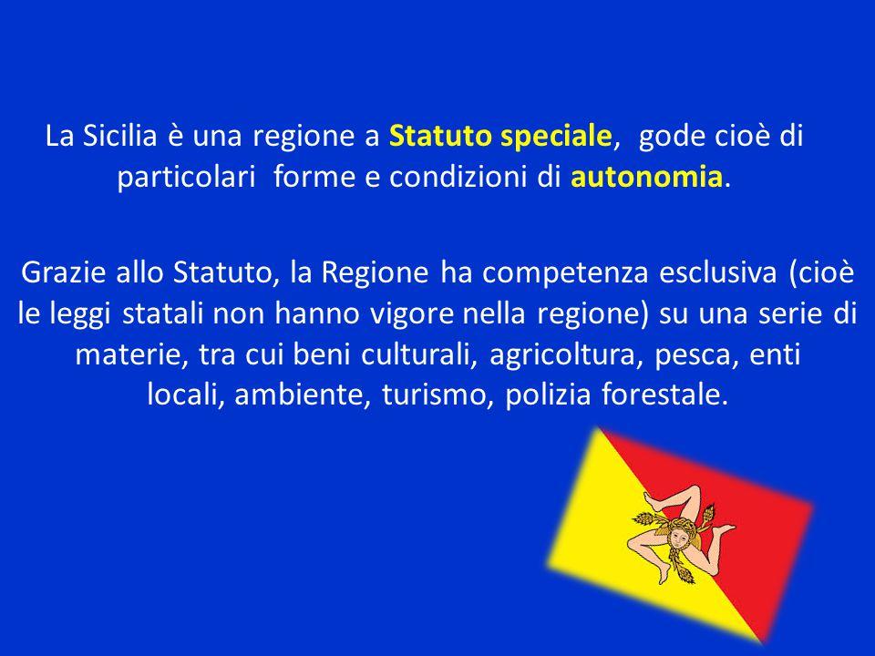 Grazie allo Statuto, la Regione ha competenza esclusiva (cioè le leggi statali non hanno vigore nella regione) su una serie di materie, tra cui beni culturali, agricoltura, pesca, enti locali, ambiente, turismo, polizia forestale.