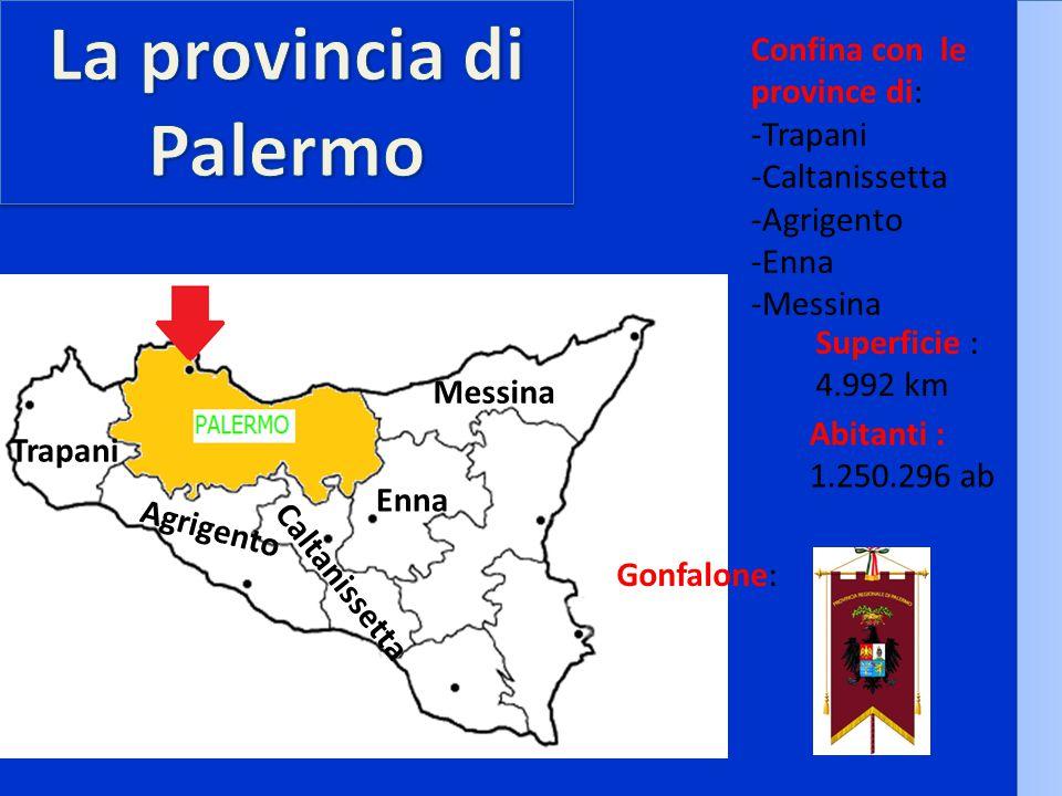 Confina con le province di: -Trapani -Caltanissetta -Agrigento -Enna -Messina Superficie : 4.992 km Abitanti : 1.250.296 ab Gonfalone: Trapani Agrigento Caltanissetta Enna Messina