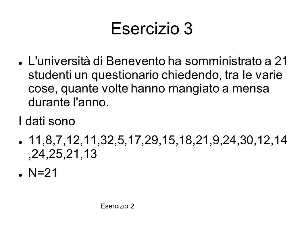 Esercizio 3 L'università di Benevento ha somministrato a 21 studenti un questionario chiedendo, tra le varie cose, quante volte hanno mangiato a mensa
