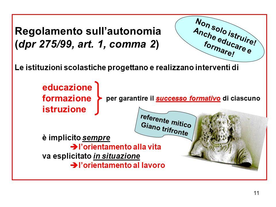 11 Regolamento sull'autonomia (dpr 275/99, art. 1, comma 2) Le istituzioni scolastiche progettano e realizzano interventi di educazione formazione ist