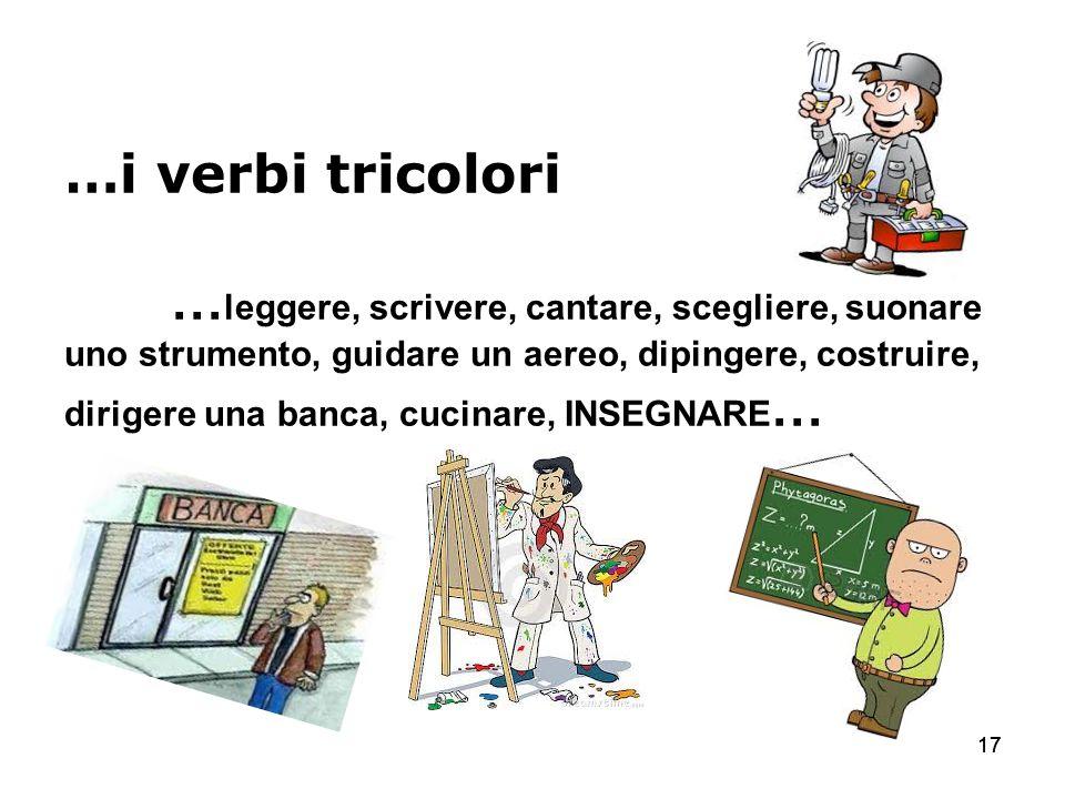 17 …i verbi tricolori … leggere, scrivere, cantare, scegliere, suonare uno strumento, guidare un aereo, dipingere, costruire, dirigere una banca, cuci
