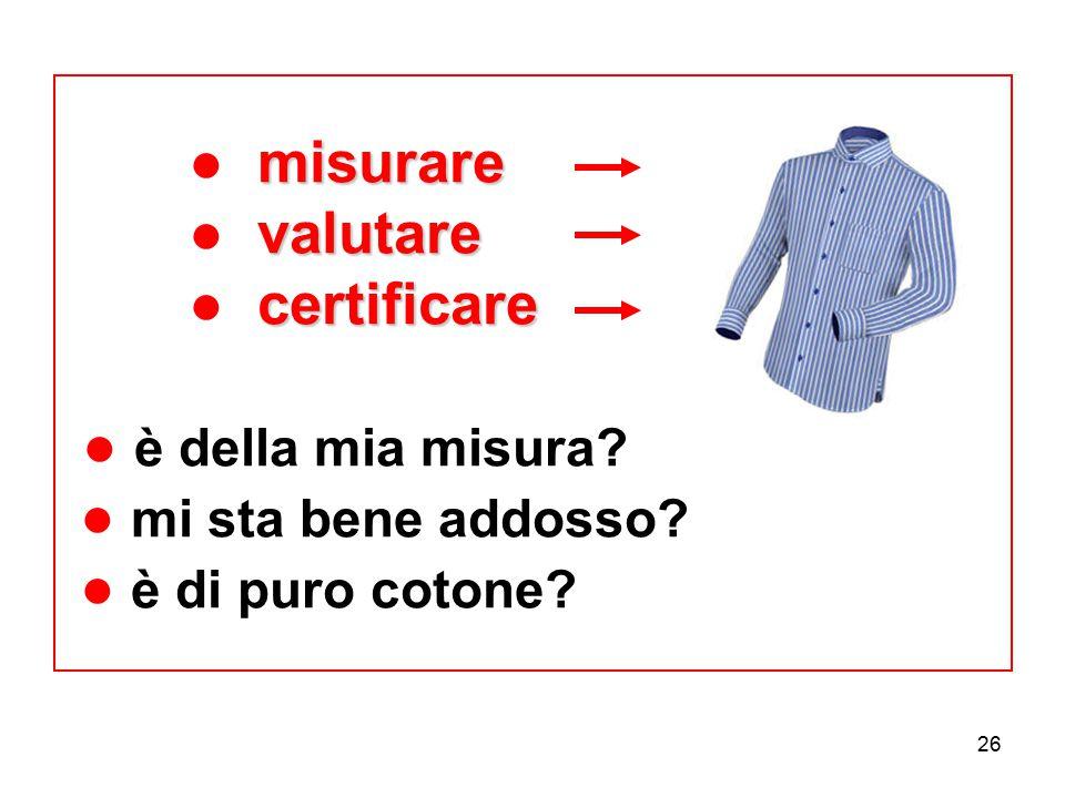 26 misurare valutare certificare ● misurare ● valutare ● certificare ● è della mia misura? ● mi sta bene addosso? ● è di puro cotone?